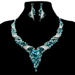 Grace Karin Party Jewellery Sets Chic Silver Plated Rhinestone Bling Necklace with Earrings (blue)