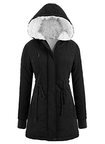 Miusol Women's Winter Coat Warm Hooded Jacket Fur Wool Outerwear Casual Parka Army Top,Black Size S-UK8