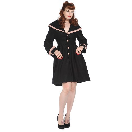 Womens New Black Wool Hooded Vintage 1940s 1950s Style Winter Coat