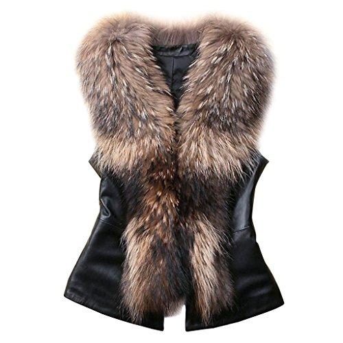 New Design Lady Faux Fur Collar Leather Vest Waistcoat Winter Warm Coat Jacket Outwear Brown