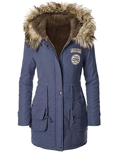 iLoveSIA Womens Hooded Warm Winter Coats Faux Fur Lined Parkas Royal Blue Size 14