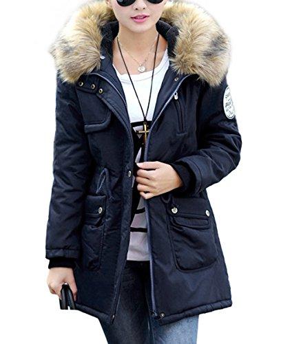 DJT Women Thicken Winter Warm Faux Fur Lined Coat Zip Up Hoody Parka Overcoat Jacket Blue Size S